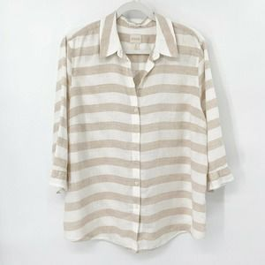 Chico's Linen Striped Button Up Shirt White Tan